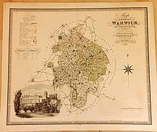 Greenwood, Charles & James C1830 Large Hand Coloured Map of Warwick