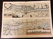Jansson, Jan C1650 Large Folio Hand Coloured Map & View of Hamburg, Germany