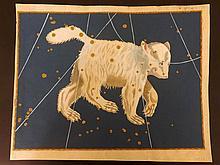 Bayer, Johann 1661 Hand Coloured Celestial Map. Ursa Major