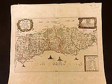 Blome, Richard 1673 Hand Coloured Map of Sussex