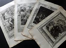 Picart, Bernard 1733 Lot of 15 Copper Engravings from Le Temple des Muses