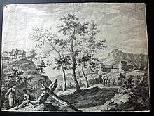 Bartolozzi, Francesco after Ricci, Marco 1762 Large Early Landscape Etching with Engraving