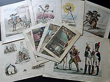 Caricatures & Satire C1790/1870 Lot of 12 Antique Prints. Bunbury, Cruikshank, Syntax Rowlandson