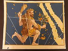 Bayer, Johann 1661 Hand Coloured Celestial Map. Hercules