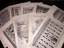 Falda, Giovanni Battista & Ferrerio, Giovanni Battista C1680 Lot of 10 Folio Architectural Prints