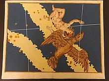 Bayer, Johann 1661 Hand Coloured Celestial Map. Aquila
