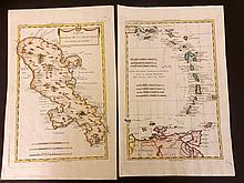 Bonne, Rigobert 1780 Pair of West Indies Hand Coloured Maps