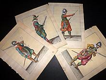Gheyn, Jacob de 1608 Lot of 4 Hand Coloured Musketeer Prints