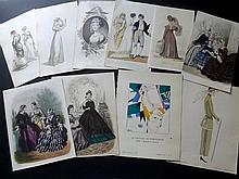 Fashion Plates 19th & Early 20th Century. Lot of 58 Prints from Regency to Art Deco