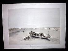 Roberts, David 1846 Large Folio Lithograph. Slave Boat on the Nile, Egypt