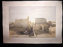Roberts, David 1848 Large Folio Lithograph. Grand Temple to the Temple of Luxor, Egypt