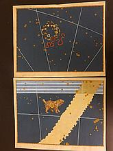 Bayer, Johann 1661 Pair of Hand Coloured Celestial Maps. Corona Borealis & Canis Minor