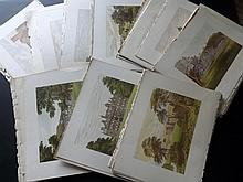 Morris, Rev Francis Orpen C1870 Lot of 80 Coloured Woodblocks of British Country Houses [Morris Seats]