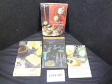 Four vintage recipe books, a Dormeyer mixer book from 1946, a Waring blender cookbook from 1964, a