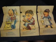 Five very old pages from some book with negative poems about the butcher, shoemaker, bartender, druggist and driver
