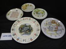 MIxed lot of nine plates, two Lefton China plates, hand painted gold trim fruit still life, # SL-3208, 8