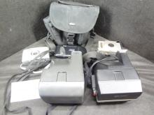 Five vintage cameras, 2 Polaroid 600's and three Kodak flip fronts plus a Lowepro camera bag