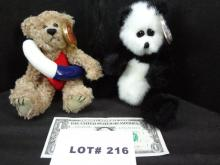 Two TY plush, a panda and a life preserver bear, with moveable limbs, new with tags