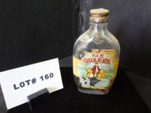 Vintage Old Quaker whiskey bottle, 6 1/2