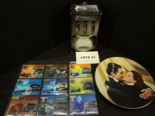 Mixed lot of items, an Elegant Expressions Oil Warmer gift set, NIB, twelve Press Pass VIP 03 Nascar The National Mile Master 2003 holographic cards and Gone With The Wind collectible plate,