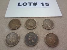 Six 1907 Indian head pennies