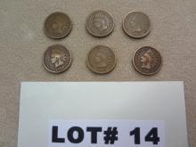 Six 1908 Indian head pennies