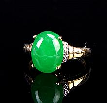 Chinese Jadeite 10K Gold Ring