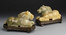 Pair of Chinese Antique Jade Horses with Bases