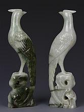 Pair of Chinese Jadeite Birds