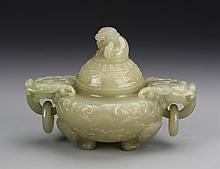 Chinese Jade Censer with Cover