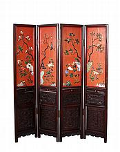 Four Chinese Folding Panel Screens
