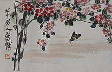 Chinese Woodblock Print Of Flowers