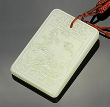 Chinese Carved Jade Square Pendant