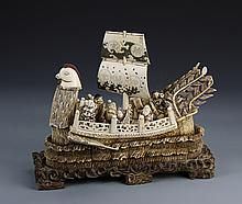 Japanese Carved Ivory Boat with Wood Base