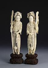 Pair of Chinese Ivory Lady Warrior Figures