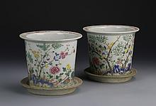 Pair of Chinese Famille Rose Planters with Bases
