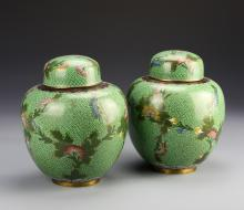 Pair of Chinese Cloisonne Jars