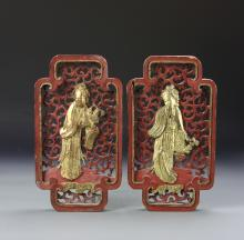 Two Chinese Gilt Panels