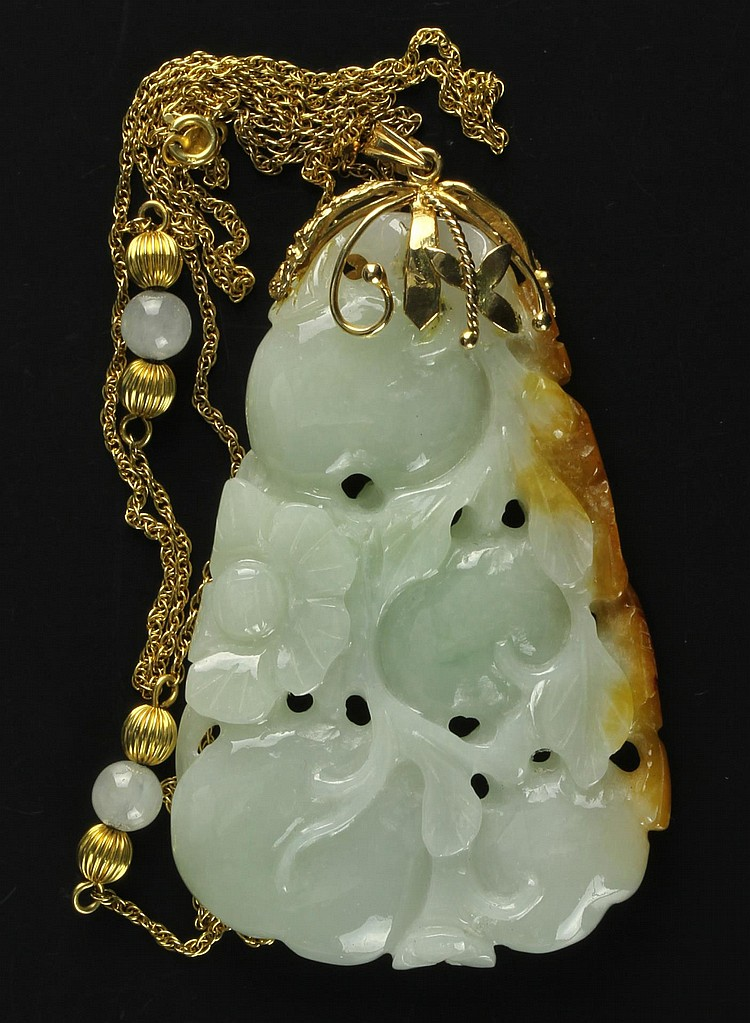 Chinese Jadeite Pendant and Gold Chain