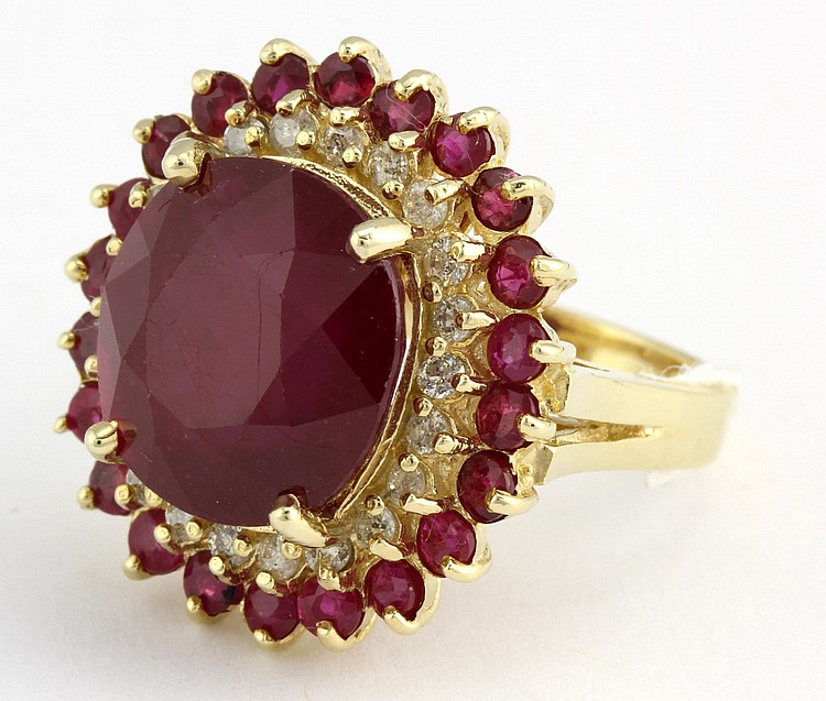 Chinese Gold with Diamond and Red Ruby