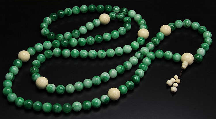 Chinese Jadeite Buddhist Prayer Beads