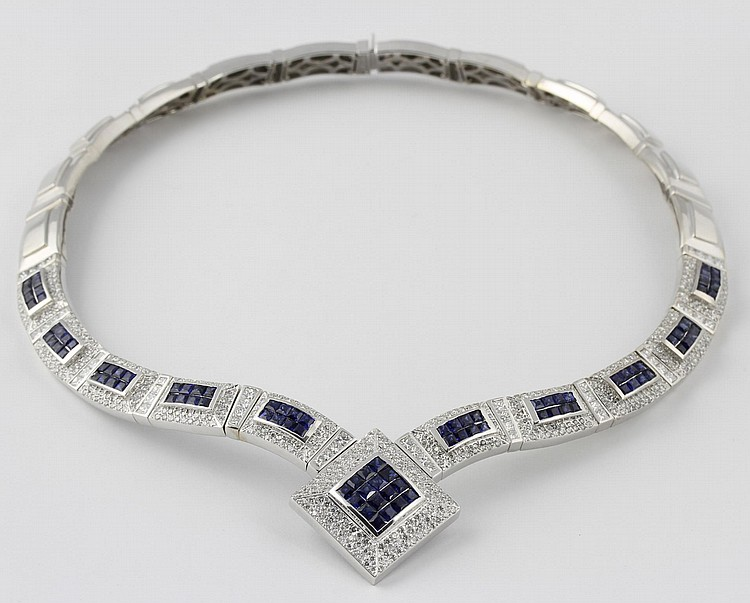 White Gold, Sapphire, and Diamond Necklace