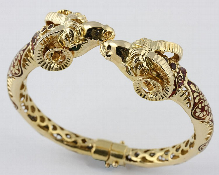 Chinese Gold Ram's Head Bracelet