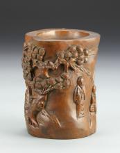 Chinese Carved Boxwood Brush Pot