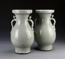 Pair Of Chinese Crackle-Glazed Vases