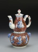 Chinese Blue, White, and Red Wine Pot