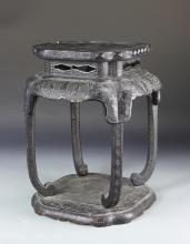 Chinese Lacquer Carved Wood Stool