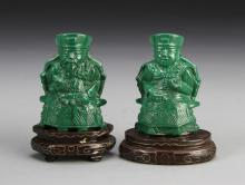 Pair of Chinese Malachite Figures with Base