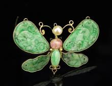Chinese Jade Butterfly Pin