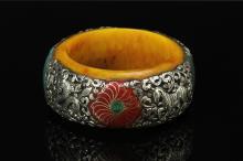 Chinese Tibetan Amber Bangle